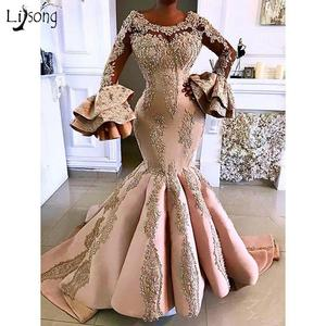 Gorgeous Floral Beaded Mermaid Satin Evening Dresses With Long Flare Sleeves Lace Prom Gowns Luxury Formal Party Dresses