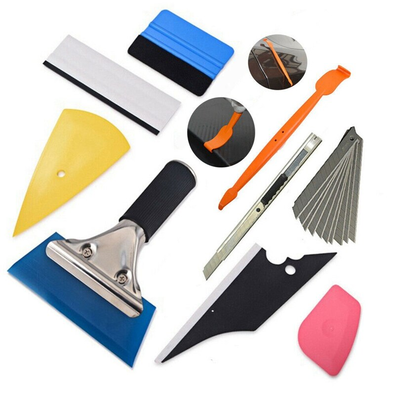 Kit de herramientas de envoltura de vinilo 9 en 1 para tinte de Ventanilla de coche, Instalación de película, cuchilla de cuchilla para microescobilla