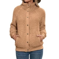 warm comfy solid color double sided plush cardigan jacket for gathering