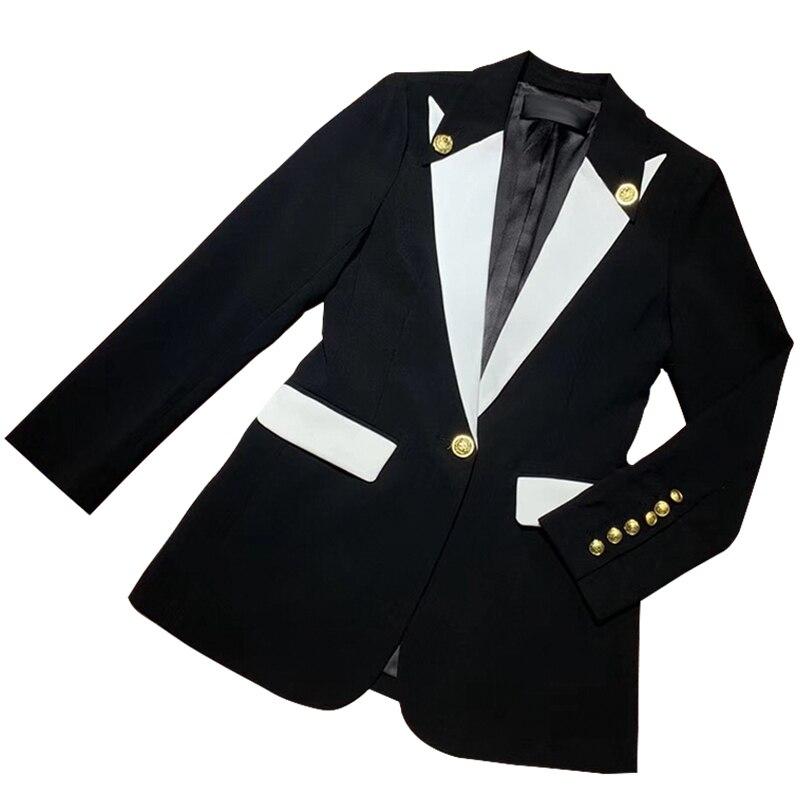 HarleyFashion, nueva llegada de calidad, chaqueta informal para mujer, chaqueta blanca y negra de un solo botón para mujer europea