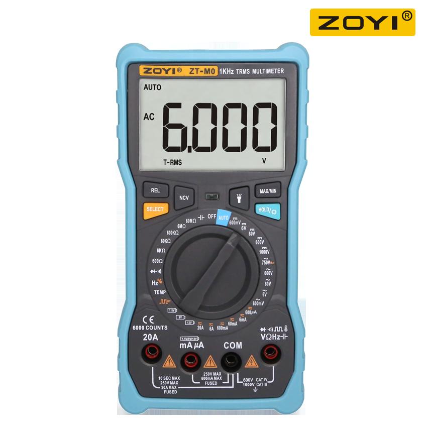 ZOYI ZT-M0 الرقمية المتر 6000 التهم الذكية الاعتراف دليل المدى Avometer الترانزستور مكثف
