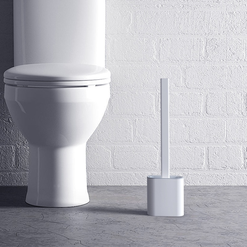 wall mounted toilet brush punch free silicone toilet brush bathroom wc brush set long handle no dead angle cleaning brush Silicone Toilet Brush, Soft Rubber Long Handle, No Dead Ends, Cleaning Brush, Wall-mounted Toilet Brush