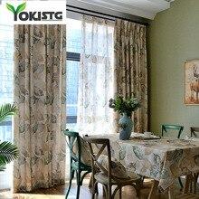 YokiSTG винтажные, в виде листика, Затемненные занавески s для гостиной, спальни, кухни, занавески, американский стиль, оконные шторы занавеси
