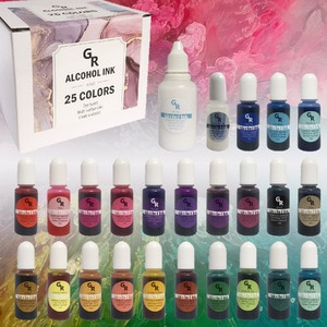 Alcohol Ink Set 25 Bottles Vibrant Colors High Concentrated bloom Ink Epoxy Resin Paint Colour Dye Petri Dish Making