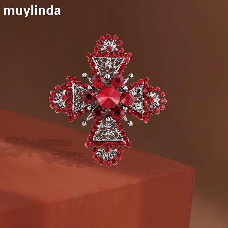 Женская Винтажная брошь muylinda, металлическая большая красная брошь в стиле барокко, украшение для одежды, шарфа