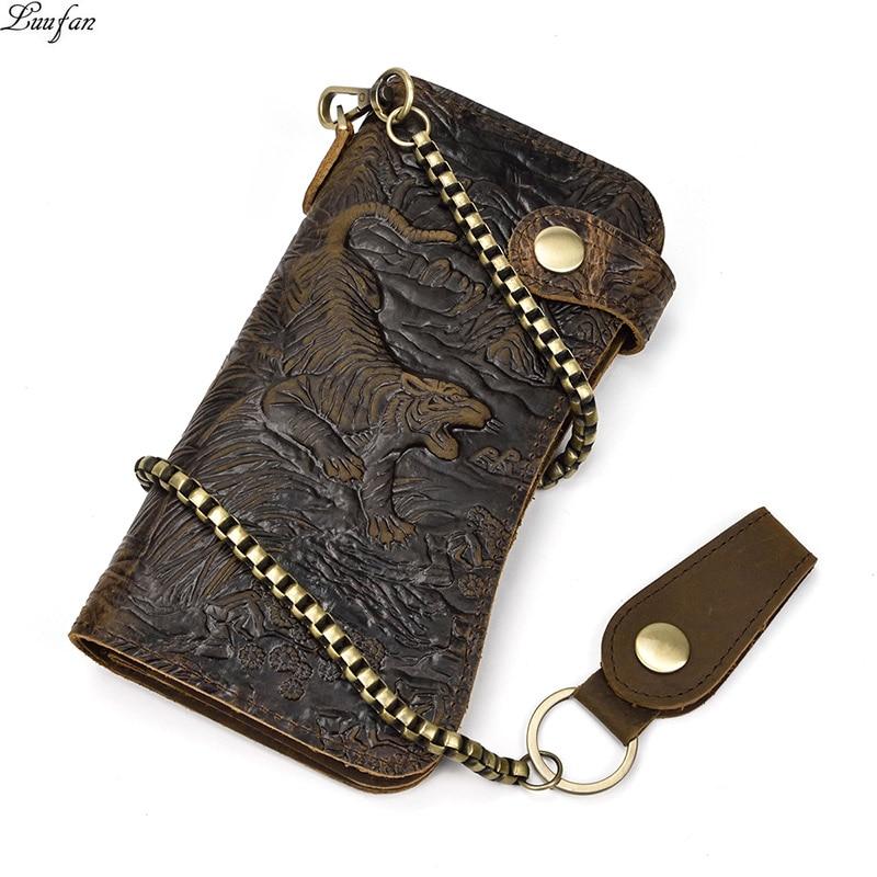 محفظة جلدية رجالية حقيقية سلسلة المفاجئة محفظة bifold كريزي هورس حافظة بطاقات من الجلد حامل بطاقات هاتف مخلب النمر التنين المحفظة