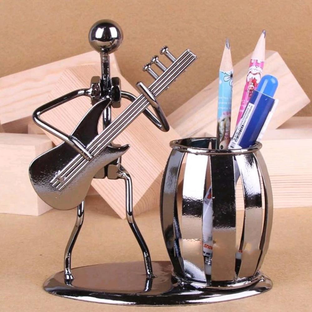 Banda de Música de Metal saxofón Retro figura de música modelo Iron Man cepillo olla contenedor pluma titular de la pluma decoración de oficina