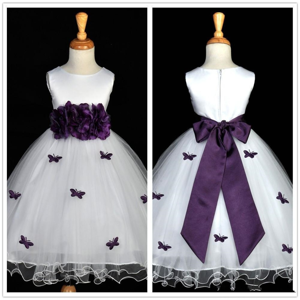 appliques flower girl dresses bow knot v neck kids pageant dress evening for party birthday hollow out princess dress b29 Purple Butterfly Flower Girl Dresses Flower Bow Sash Kids Birthday Wedding Party Communion Dress Little Girl Pageant Gowns