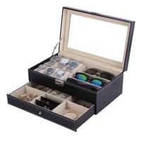 pu leatherwood watch jewelry necklace rings box storage display container holder tray zippere travel watch collector case gift