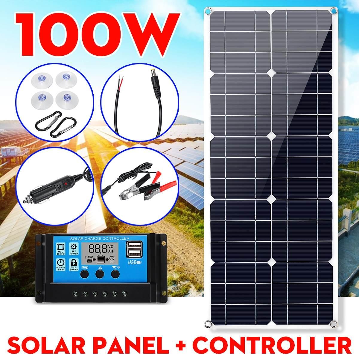 لوحة طاقة شمسية 100 واط مع تحكم 30A/100A مزدوج 12 فولت/5 فولت USB مقاوم للماء الخلايا الشمسية بولي الخلايا الشمسية لشحن بطارية اليخوت السيارة
