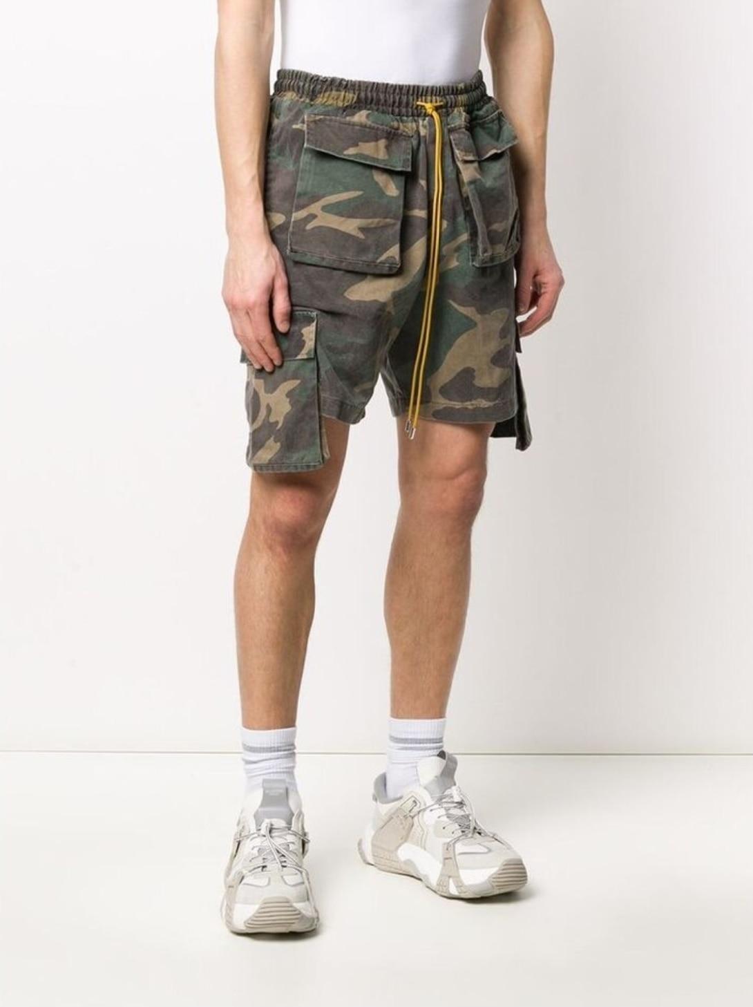Camouflage RHUDE Shorts 2020ss Men Women 1:1 Top Version Multi Pockets Beach Drawstring Sportswear RHUDE Shorts недорого