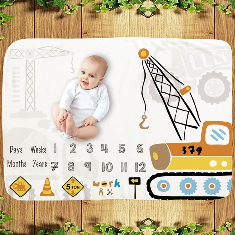 Baby Monthly Record Growth Milestone Blanket Newborn Soft Flannel Swaddle Wrap Photography Props Creative Background Cloth