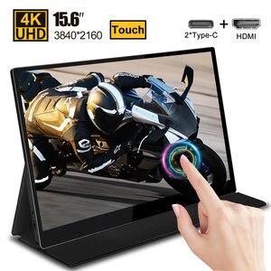 15,6 сенсорный экран 4K USB Type-C портативный монитор СВЕТОДИОДНЫЙ экран дисплей для телефона Huawei Samsung ноутбука игровой сенсорный монитор HDMI