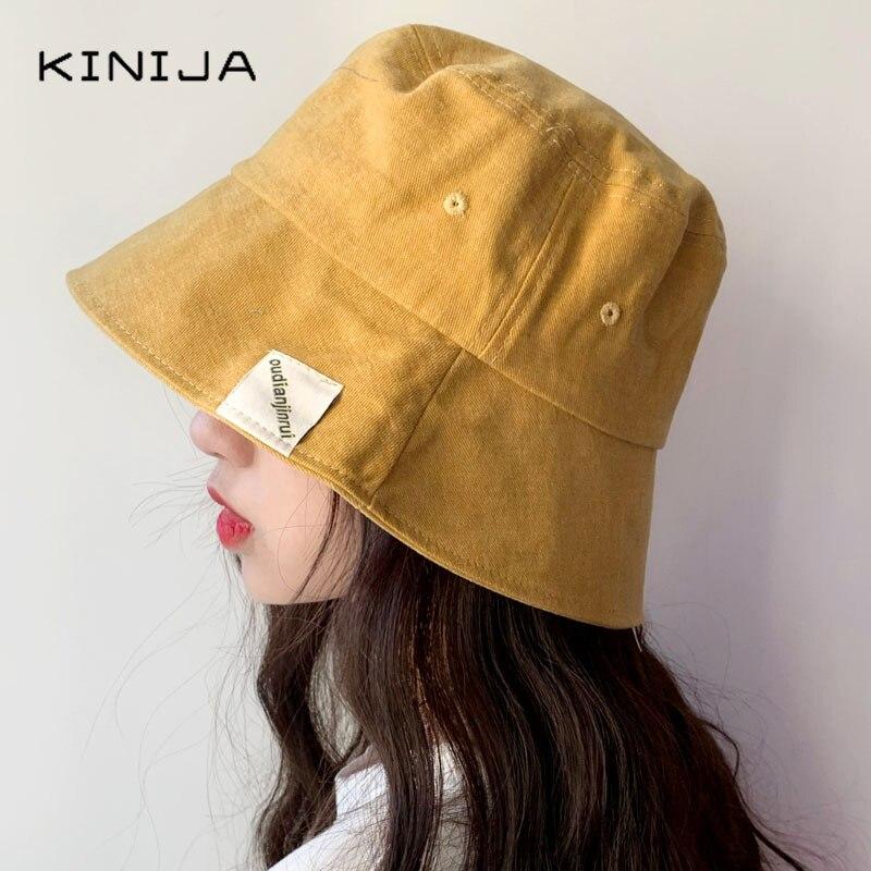 Sombrero de cubo plegable de verano para mujer, Color sólido, Hip Hop, Panamá de ala ancha, sombrero de playa, protección UV, tapa redonda para protección solar, gorra de pescador
