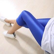 CUHAKCI Fluorescent Color Women Leggings Shiny Leggins Spandex Pants Summer Super Elastic Plus Size