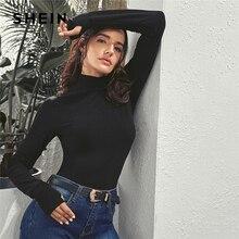 SHEIN noir solide col haut trous de pouce t-shirt haut pour femme 2019 automne manches longues basiques solide mince ajusté T-Shirt décontracté hauts