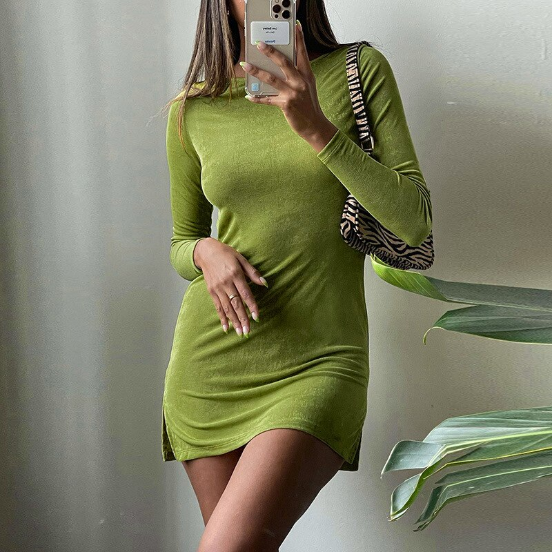 Long Sleeve Midi eam dress Sexy Casual Round Neck 2021 Summer Solid...