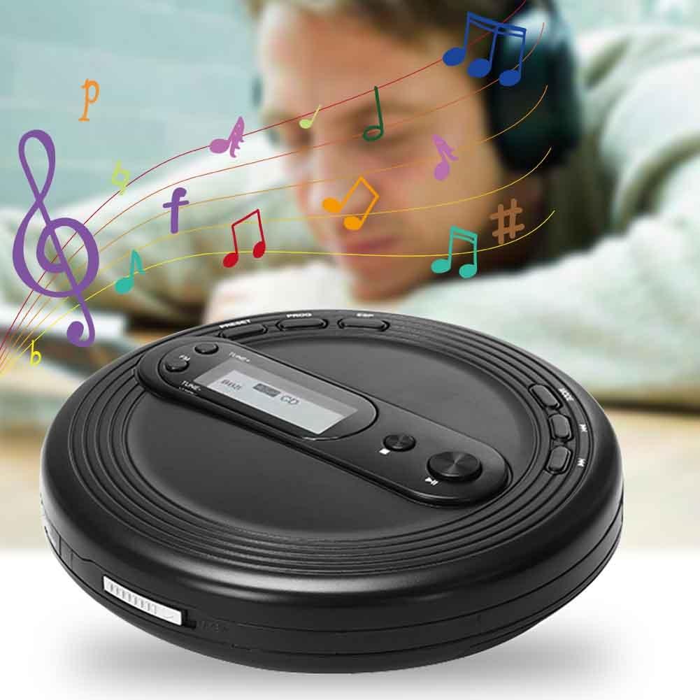 FM Radio Sonido calidad niños adultos estéreo auriculares inglés aprendizaje portátil CD Player redondo negro Oficina Prenatal educación