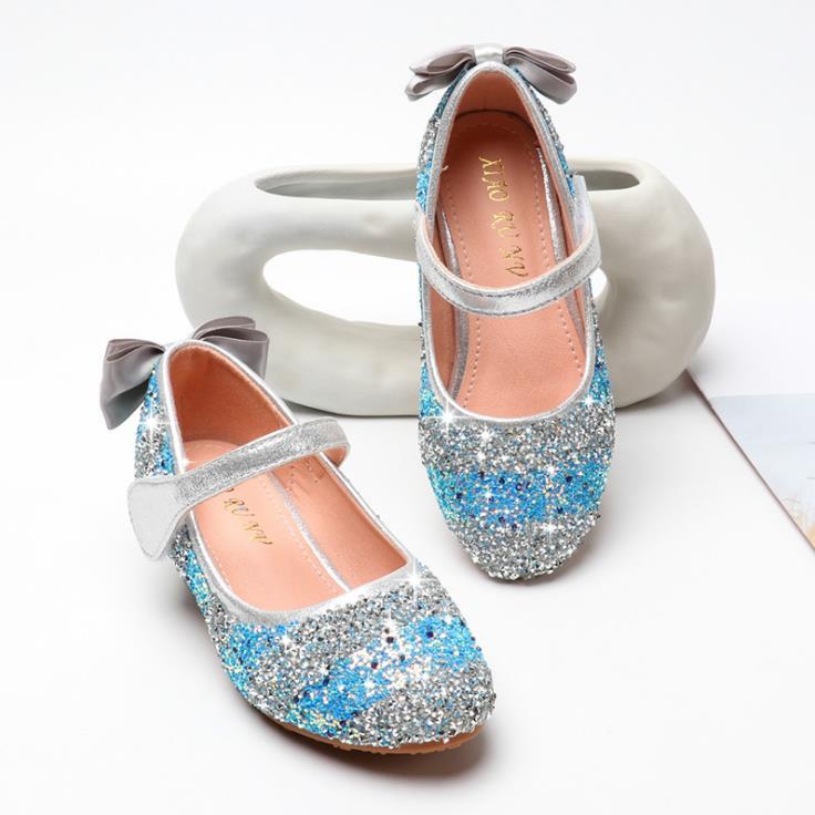 الأطفال الفتيات الملونة بلينغ شىء صغير براق أحذية الأميرة الرقص حزب أحذية عالية الكعب 3 سنتيمتر الوردي الأزرق 26-34 T3-6 GZX04