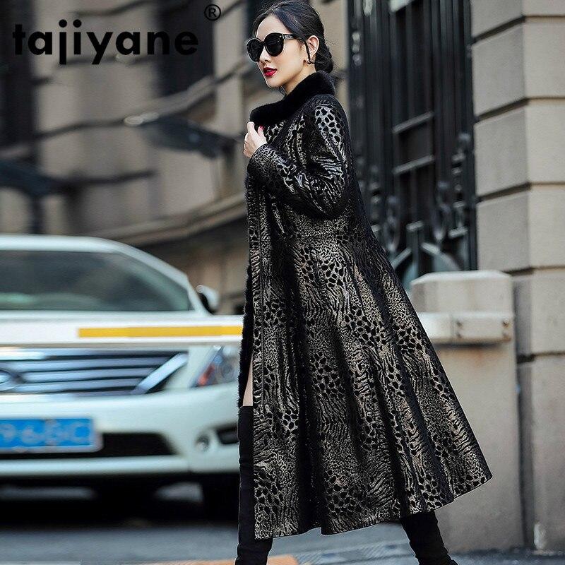 خريف شتاء معطف ملابس حريمي 2020 فرو منك حقيقي طوق جلد طبيعي سترة جلد الغنم أسفل معطف الإناث طويلة القمم ZT4955