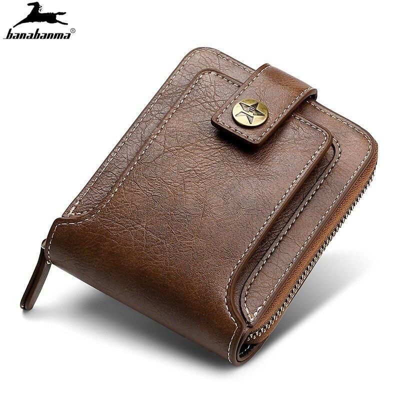 Мужские кошельки из натуральной кожи, складные бумажники на молнии, портмоне для мелочи, визиток, винтажные кошельки высшего качества, 2021