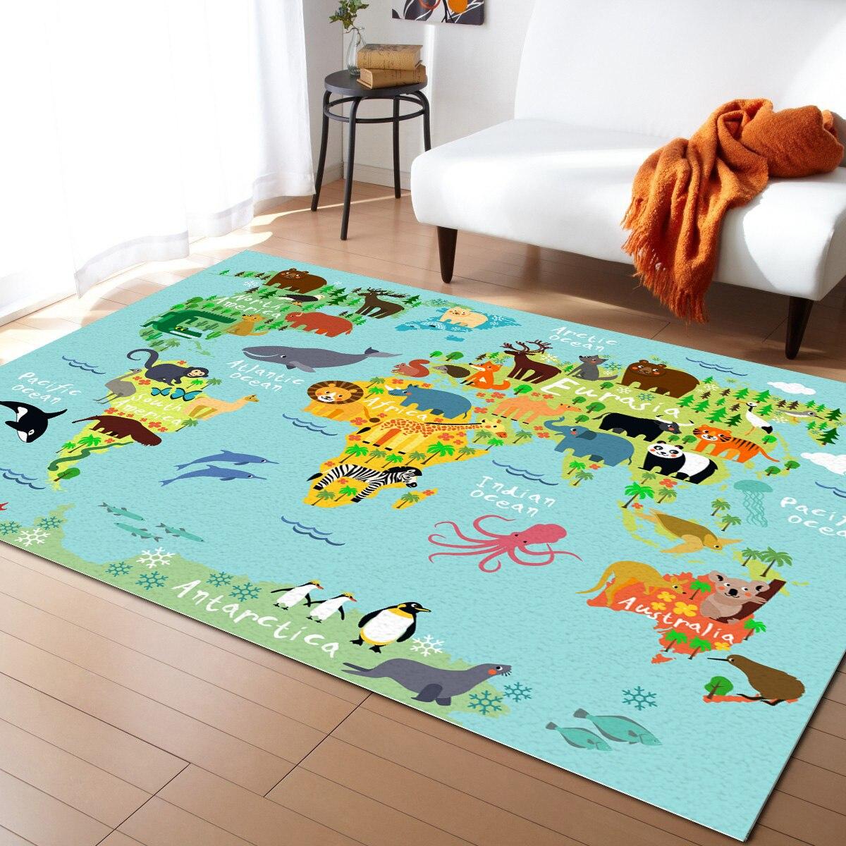 سجادة كبيرة برسومات خريطة العالم للحيوانات ، لغرفة المعيشة ، وغرفة النوم ، وغرفة الأطفال ، وغرفة اللعب ، وطباعة ثلاثية الأبعاد للمنزل