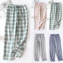 Soft Pajamas Pants Cotton Sleep Bottoms Women Girls Plaid Spring Summer Cotton Home Pants Loose Trou
