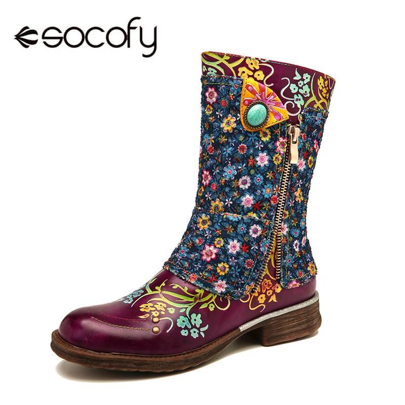 SOCOFY, botas Retro auténticas, botas de cuero con estampado de flores pequeñas con costuras, cremallera, botas planas, zapatos de mujer 2020