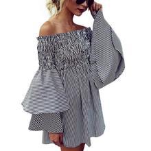LEH 2019 Fashion Dress Womens Holiday Off Shoulder Stripe Party Ladies Casual Dress Long Sleeve Bohe Dress Women