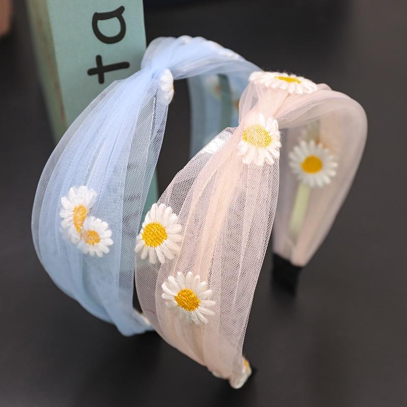 Nuevas diademas Primavera Verano Margarita flor nudo cruzado diadema encaje bordado bandas para pelo para Mujer Accesorios para el cabello