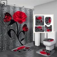 Rideau de douche 3D imprime Rose  rideau de salle de bain en Polyester impermeable  tapis de bain antiderapant  ensemble de tapis de toilette  moquette de decoration de maison  5 couleurs