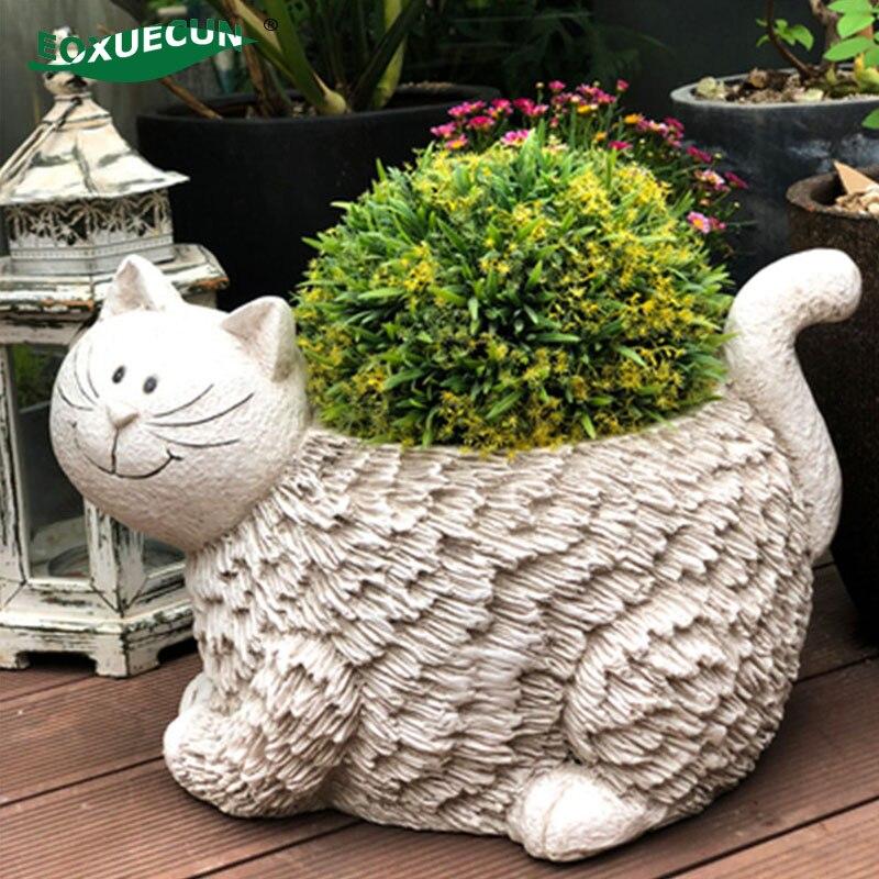 Растение из смолы, горшок для кошек, большие напольные вазы, декоративные большие милые горшки, садовые и домашние садовые горшки, садовые а...