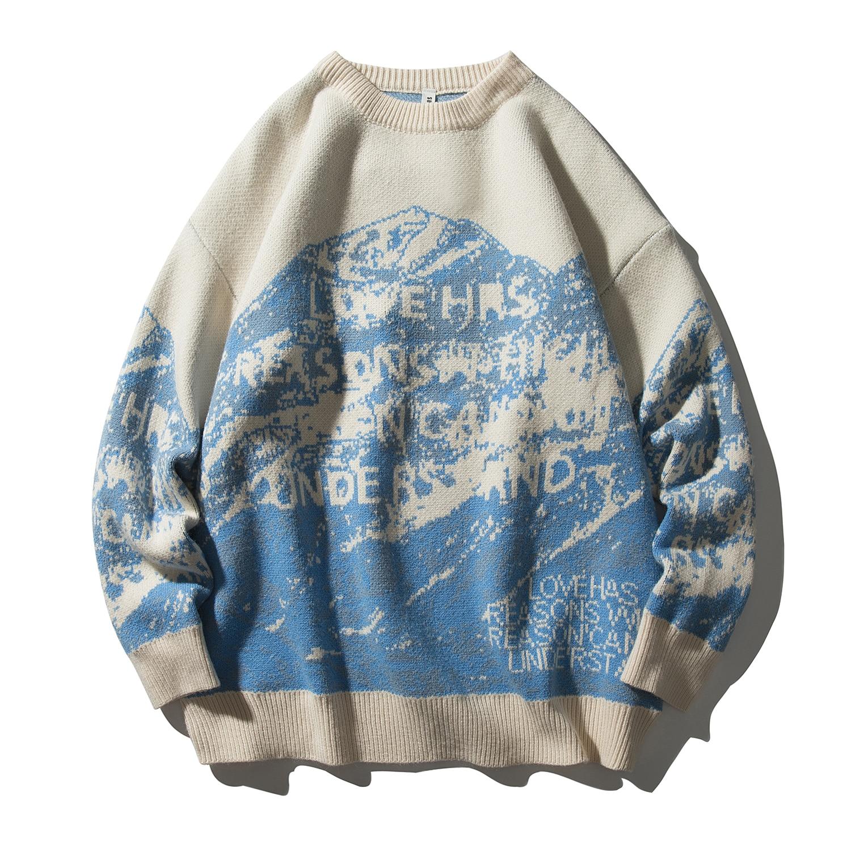 كنزة صوفية للرجال موديل 2020 بلوفر من الجبال الثلجية بلوفر منسوج هاراجوكو غير رسمي ملابس الشارع الشهير هيب هوب