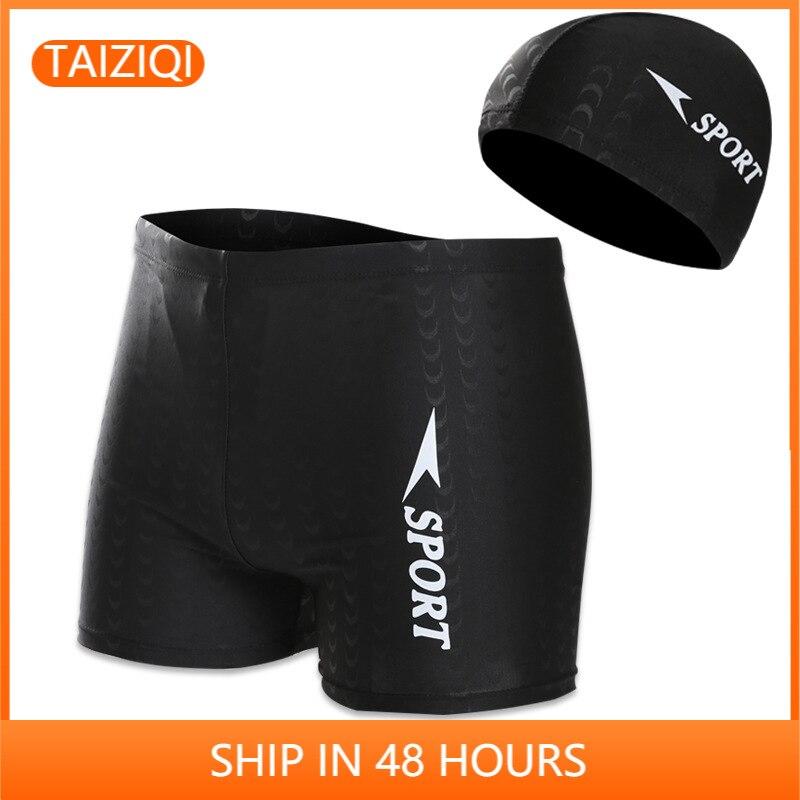 Men's swimming suit Black Trunks Men's Beach Shorts Men's Boxer Hot Spring Swimming Trunks Men's Swimming Set