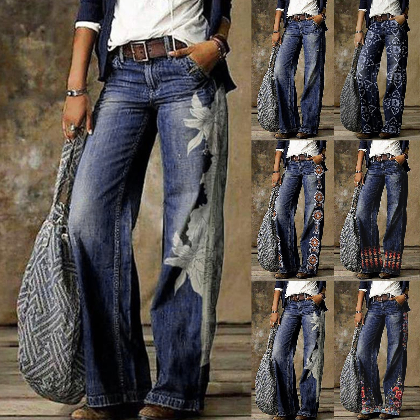 Stylish And Fashion Daily Casual Printed Jeans Casual Women Long Pants skin-friendly, breathable and