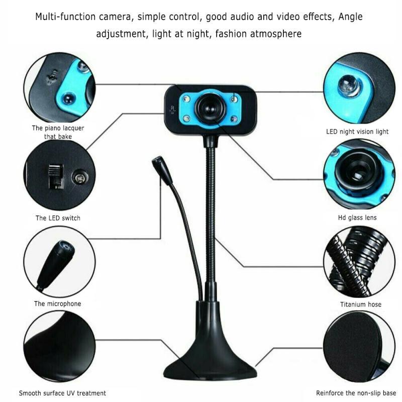 Para Webcam HD de estudiantes, cámara USB con micrófono incorporado, cámara web de vídeo, mini cámara de succión para enseñanza de vídeo en vivo y Chat
