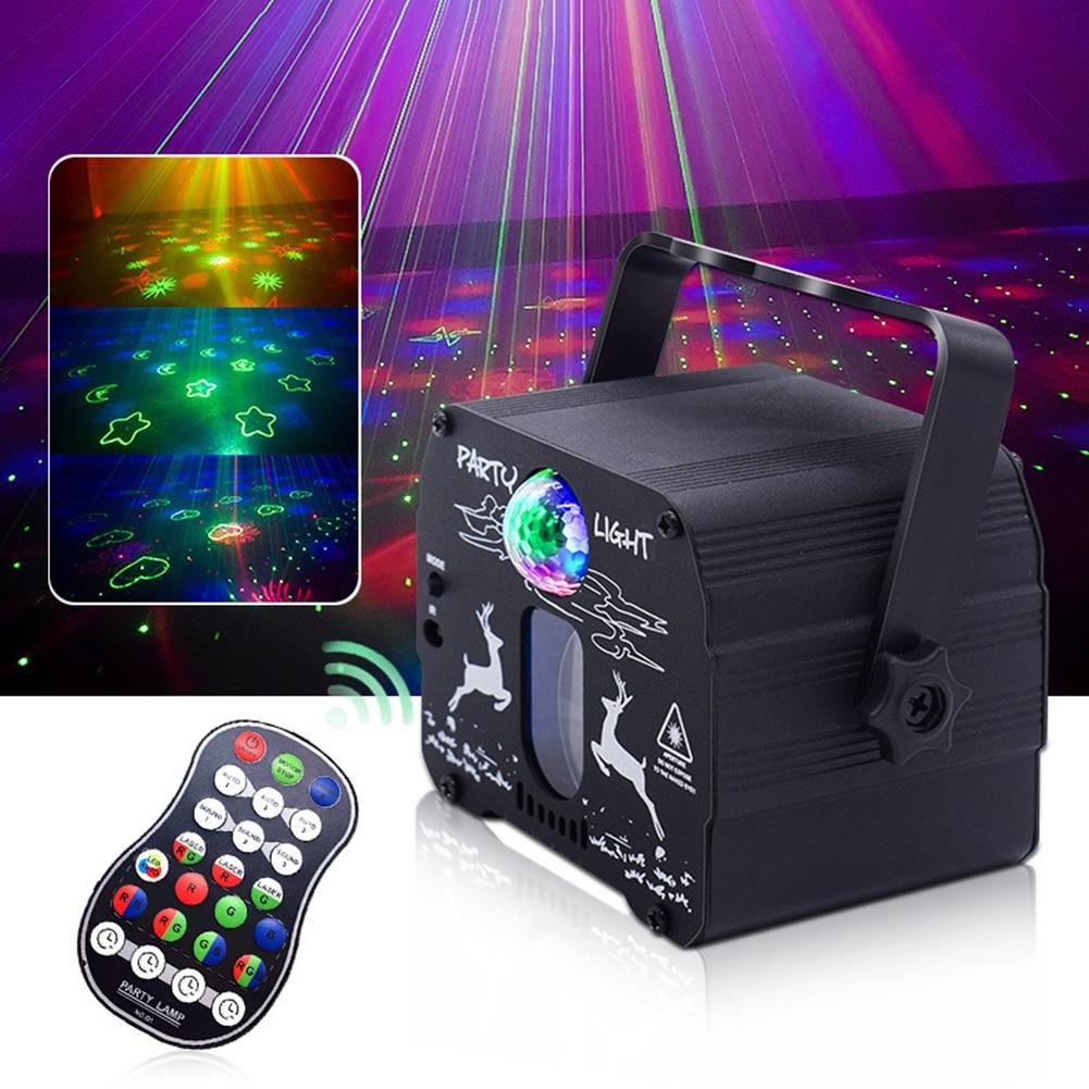 usb elk mini lampada laser 60 padroes rgb luzes de palco controle voz musica led