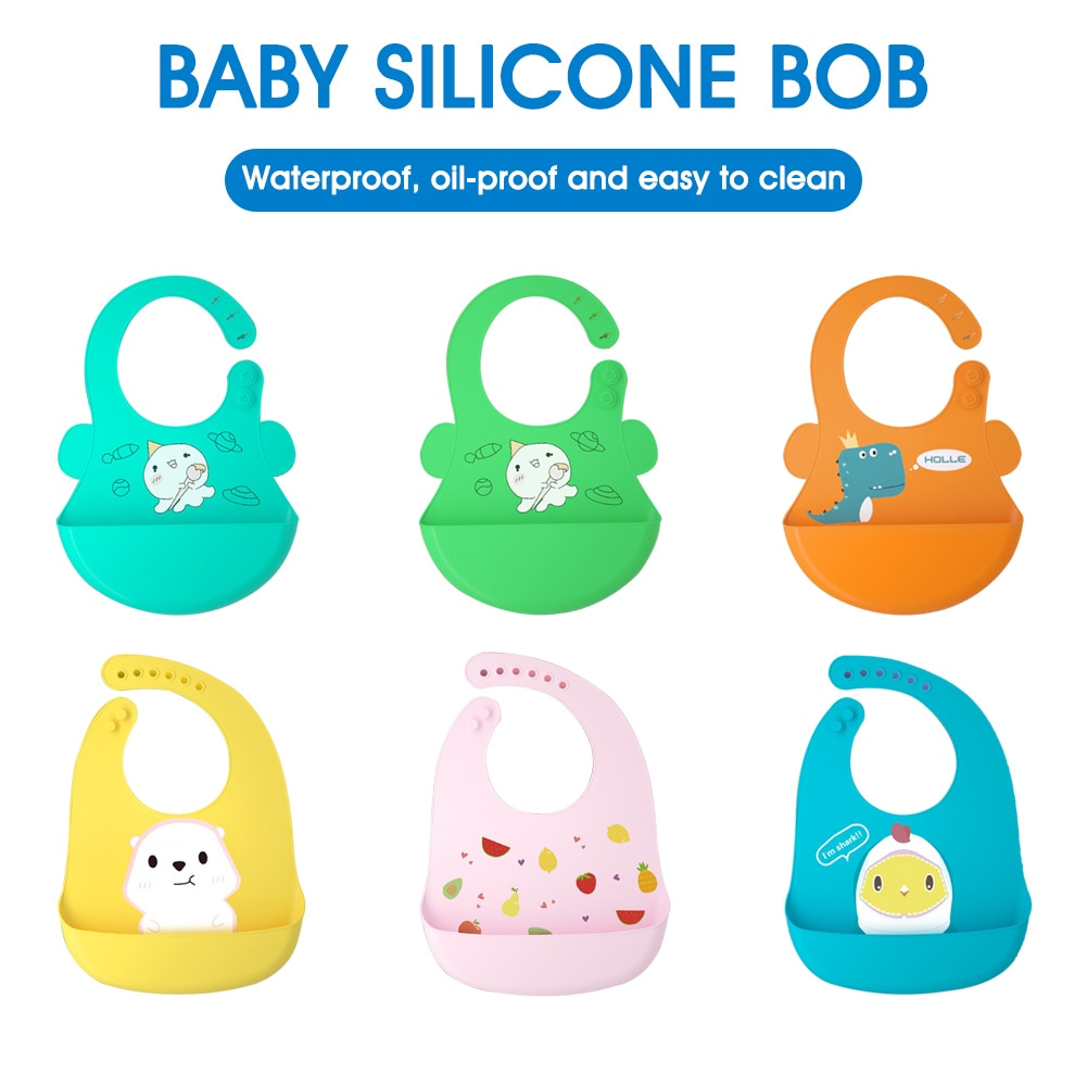 Силиконовый нагрудник для младенцев Регулируемый мультяшный желтый медведь водонепроницаемый слюнявчик для кормления с едой без беспоряд...