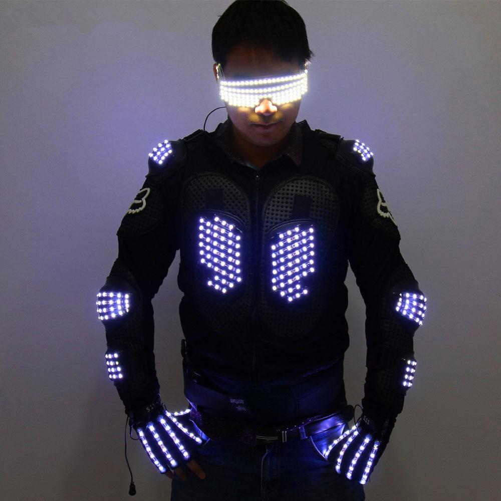 موضة LED درع تضيء جاكيتات زي قفاز نظارات Led الزي الملابس Led دعوى ل LED روبوت الدعاوى