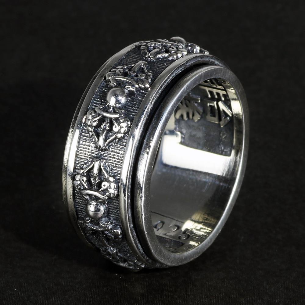 خاتم من الفضة الإسترليني عيار 925 للرجال ، مجوهرات بوذية تبتية محفورة ، تحول دوار 10 مللي متر