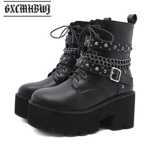 GXCMHBWJ Punk Gothic Metal Chain Chunky Platform Women Boots High Heels Rivet Motorcycle Boot Black Round Toe Lace Up Lady Shoes