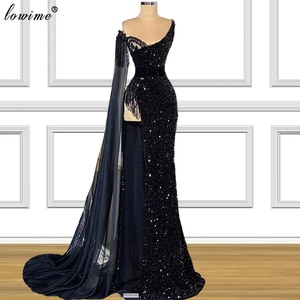 Arabic Black Sequins Prom Dresses 2021 Long Mermaid Sexy Cocktail Party Dresses Evening Wear Vintage Evening Dresses For Women