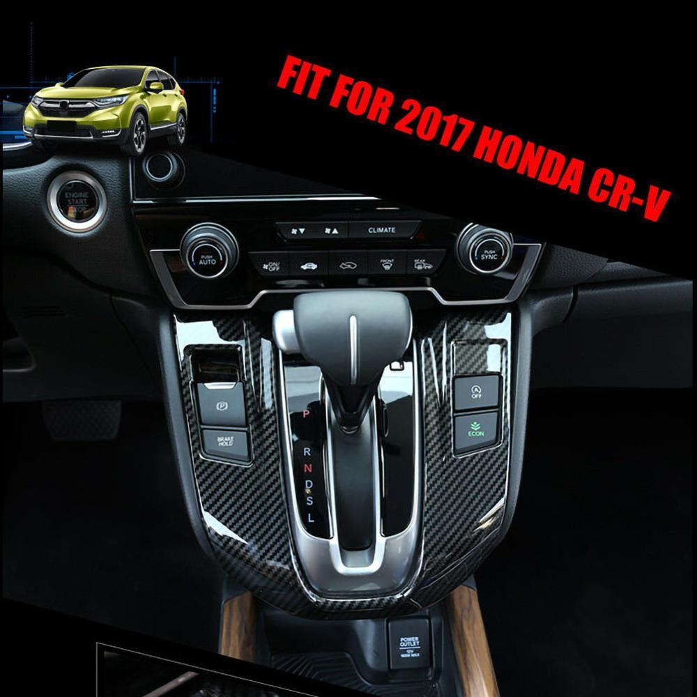 Fibra de carbono, cambio de marchas interiores, moldura de cubierta de marco para Honda CRV CR-V 2017-2019