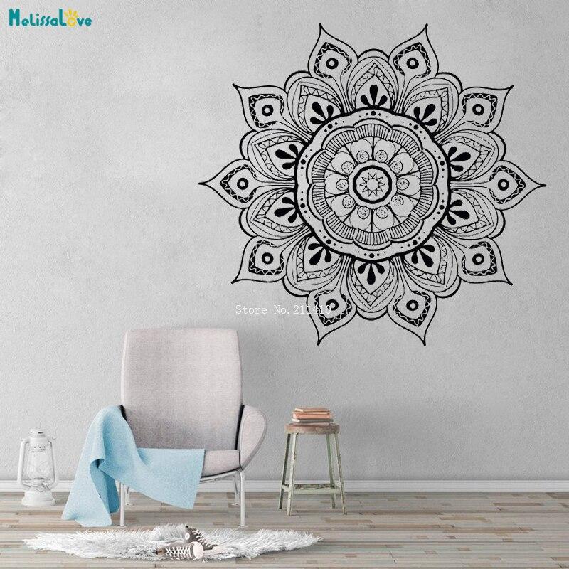Sofisticado mandala adesivos de parede decalques decoração para casa murais arte yoga estúdio sala estar removível poster decoração vinil yt4004