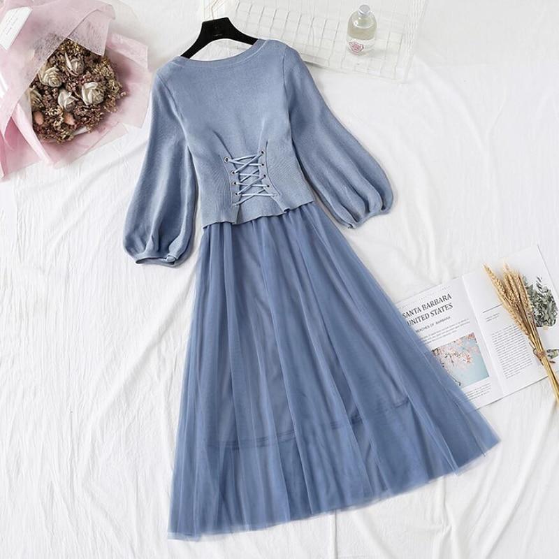 Vestido de malha feminina primavera outono o-pescoço puff manga de malha topos + estilingue malha vestidos de duas peças feminino elegante vestido de festa vestidos