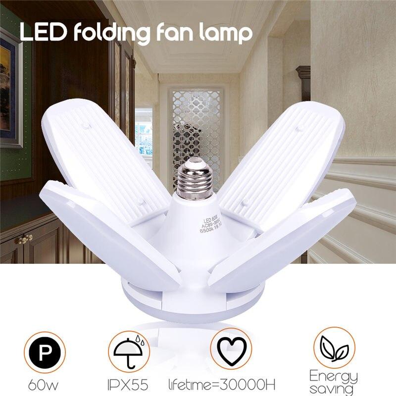 AC85-265V lámpara Deformable Led de 60W E27 B22 para Taller, iluminación Industrial, luz de garaje, lámpara de techo ajustable brillante
