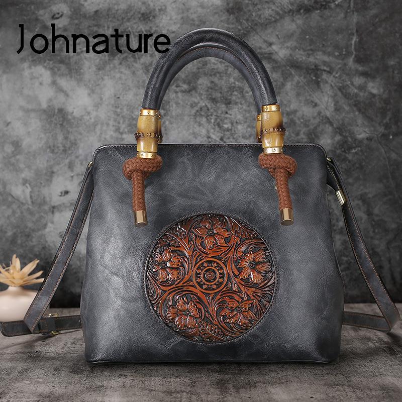جوهنيتشر ريترو حقيبة يد فاخرة حقائب النساء مصمم 2021 جديد اليدوية تنقش حقائب كتف حقيبة جلدية السيدات عادية