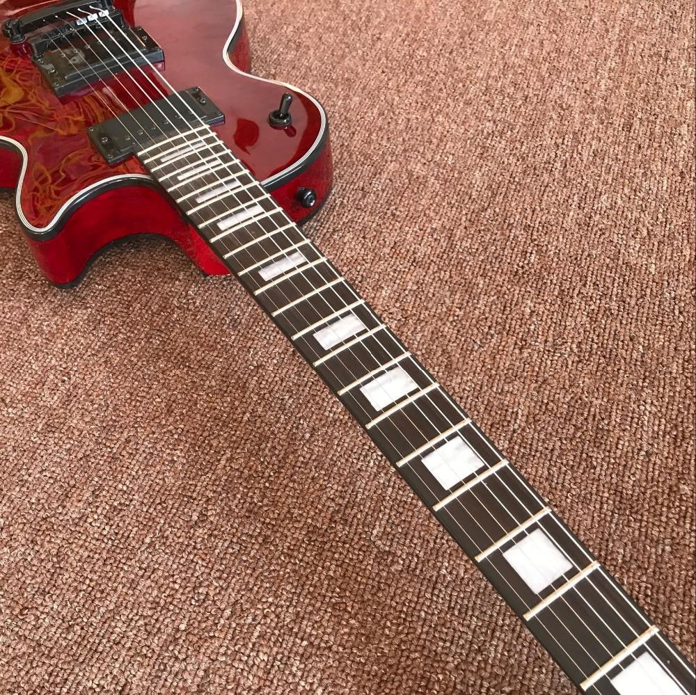 custom shop.RED color flame custom electric guitar.mahogany body Custom gitaar. black hardware. handwork 6 Strings guitarra. enlarge