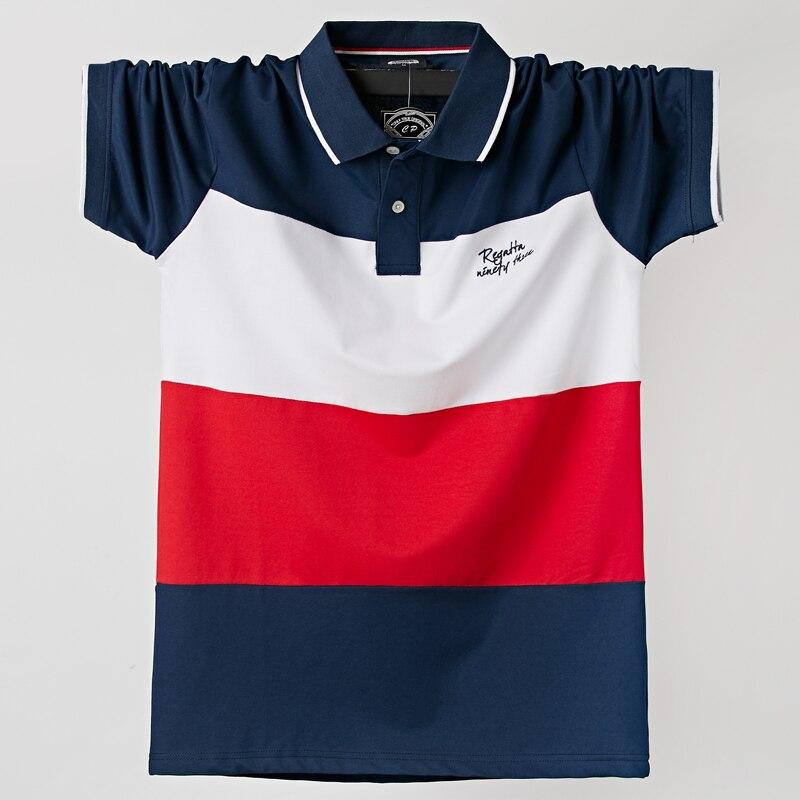 2020 camisa Polo de verano para hombre Casual transpirable de talla grande 5xl a rayas de manga corta Polo algodón 6XL 5XL XXXXL de talla grande