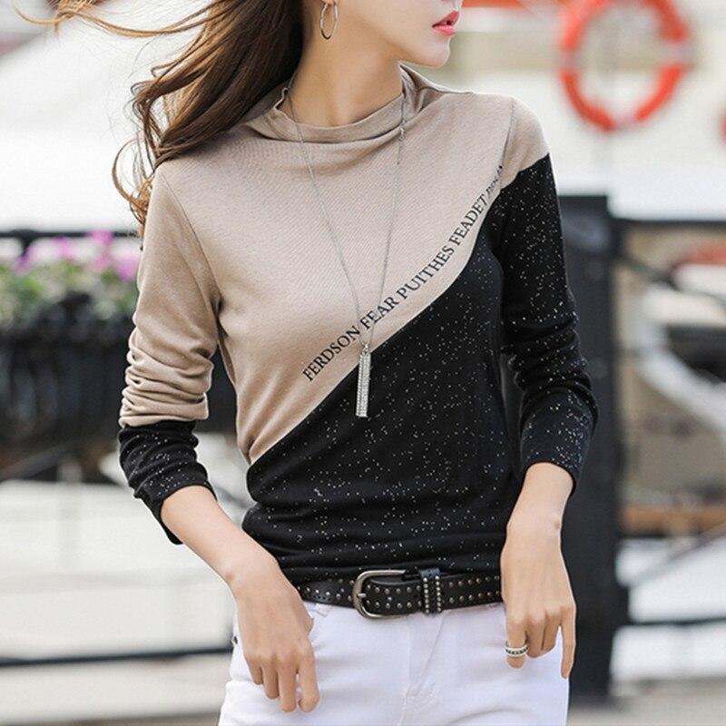 Primavera 2020 bloco de cores retalhos camiseta feminina meia gola alta diamantes brilhante manga longa topos t algodão t9d009y
